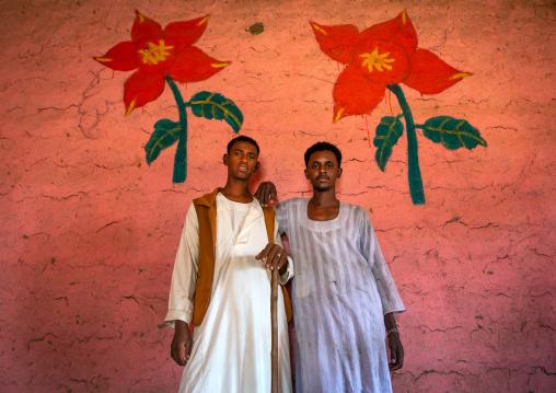 Sudanese men in a restaurant with decorated walls, Kassala State, Kassala, Sudan