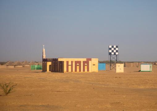 Mosque and water tank in the desert, Kassala State, Kassala, Sudan
