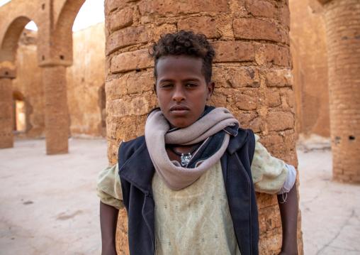 Sudanese boy in the Khatmiyah  mosque prayer hall, Kassala State, Kassala, Sudan