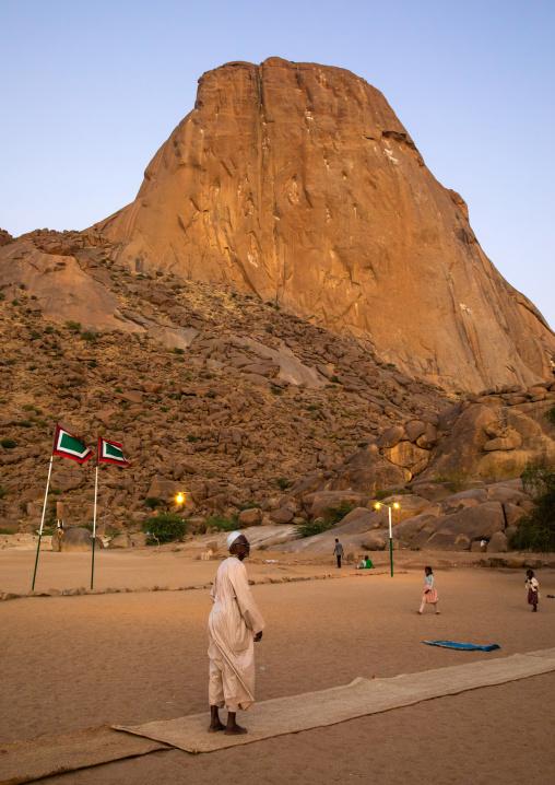 Sudanese sufi man praying at the foot of Taka mountains, Kassala State, Kassala, Sudan