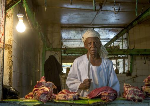 Sudan, Khartoum State, Omdurman, butcher