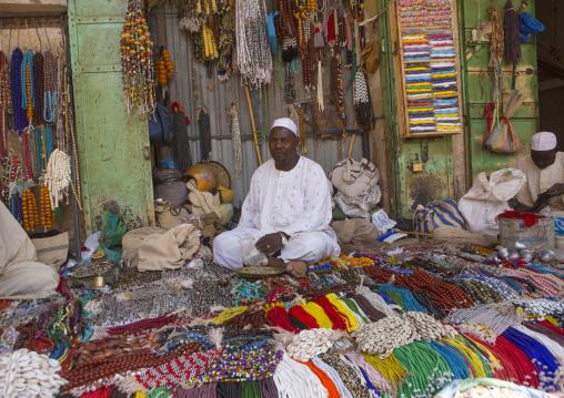 Sudan, Khartoum State, Omdurman, beads and necklaces at bazaar