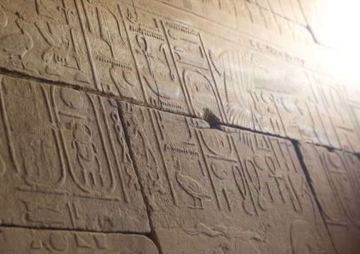 Sudan, Khartoum State, Khartoum, hieroglyphs in the kumma temple at the national museum