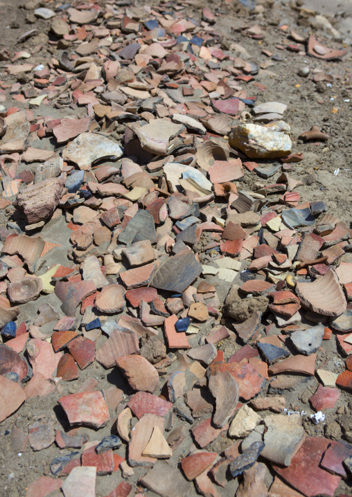 Sudan, Nubia, Sai island, remains of ancient pottery litter