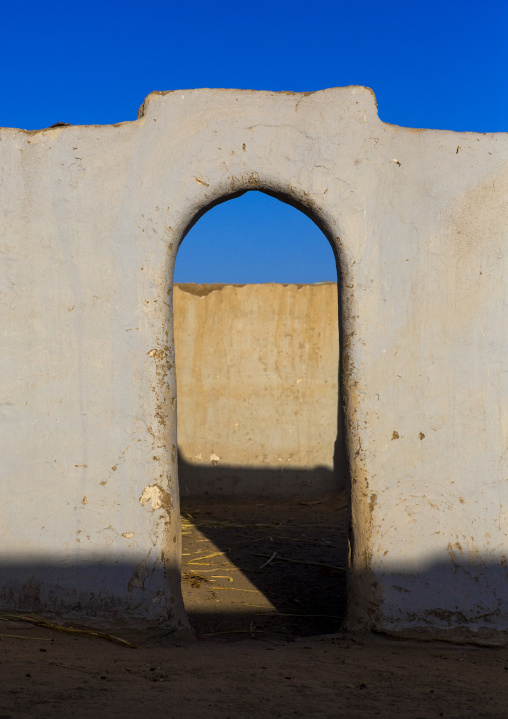 Sudan, Nubia, Tumbus, gate in the courtyard of a traditional nubian house