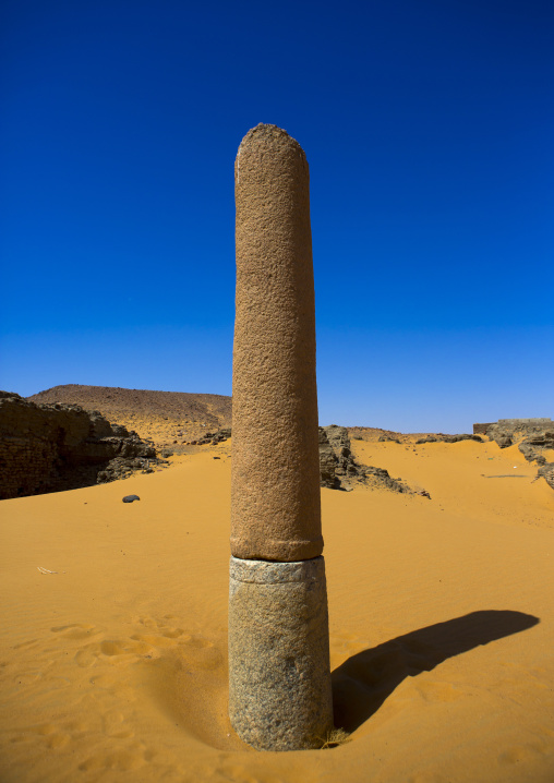 Sudan, Nubia, Old Dongola, ruins of the church of the granite columns