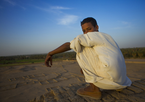 Sudan, Northern Province, Kerma, boys in the western deffufa