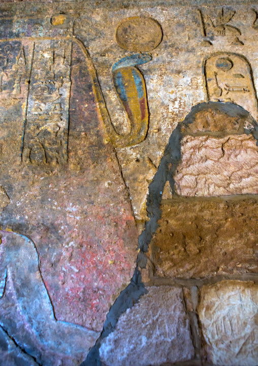 Sudan, Northern Province, Karima, cobra in the mammisi chapel of the temple of amun at the foot of jebel barkal