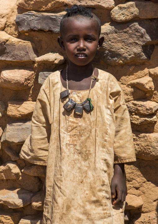 Sudan, Nubia, Naga, sudanese boy with traditional necklace