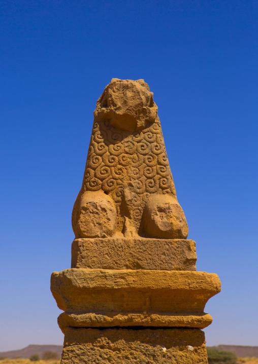 Sudan, Nubia, Naga, ram statue in amun temple rams