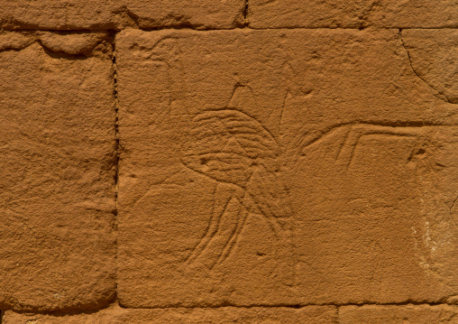 Sudan, Nubia, Naga, ostrich carving on the elephant temple at musawwarat es-sufra