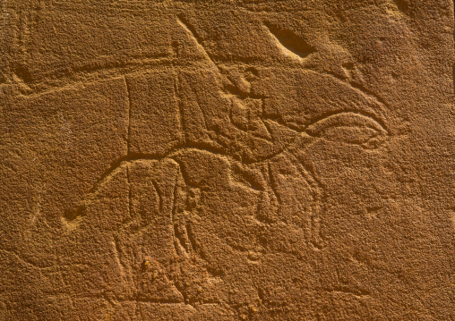 Sudan, Nubia, Naga, man riding a horse carving on the elephant temple at musawwarat es-sufra
