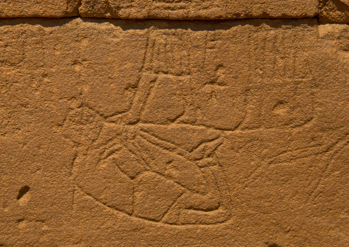 Sudan, Nubia, Naga, tortured man carving on the elephant temple at musawwarat es-sufra