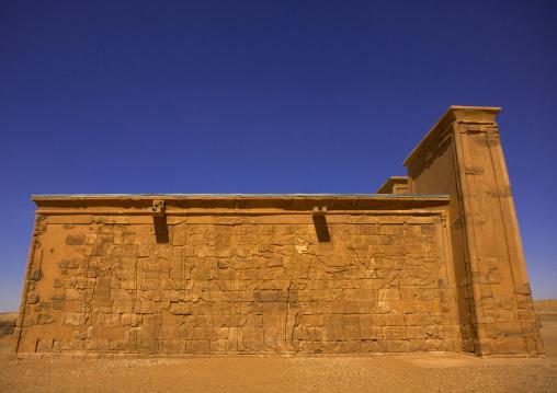 Sudan, Nubia, Naga, the restored apedemak lion temple in musawwarat es-sufra