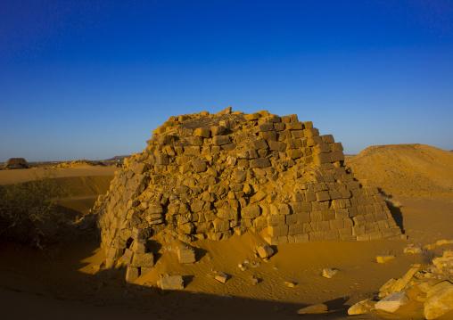 Sudan, Kush, Meroe, pyramids and tombs in royal cemetery of bajrawiya