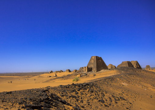 Sudan, Kush, Meroe, pyramid and tomb in royal cemetery