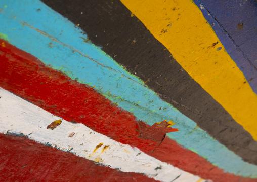 Sudan, Red Sea State, Port Sudan, multi colored boat decoration