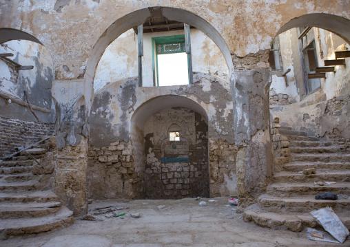 Sudan, Port Sudan, Suakin, stairs inside a ruined ottoman coral buildings