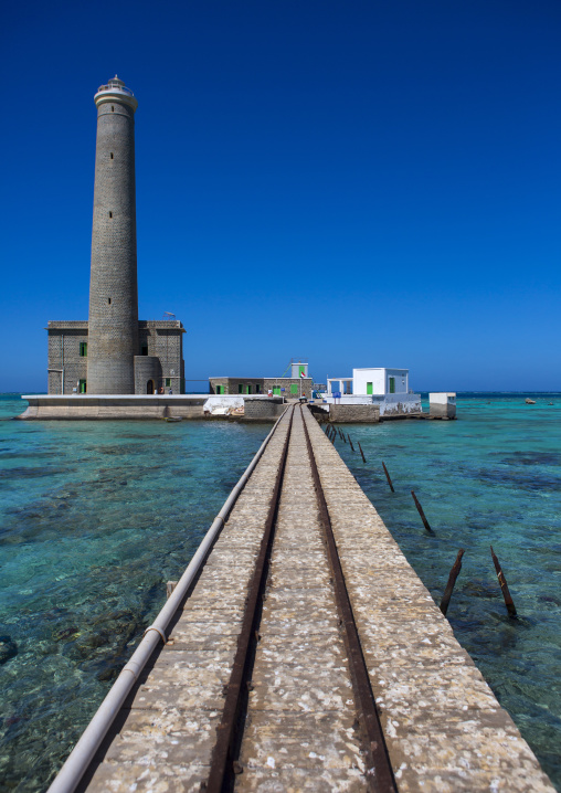 Sudan, Red Sea State, Port Sudan, lighthouse at sanganeb reef