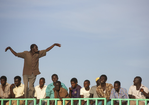 Sudan, Khartoum State, Khartoum, spectators during nuba wrestling