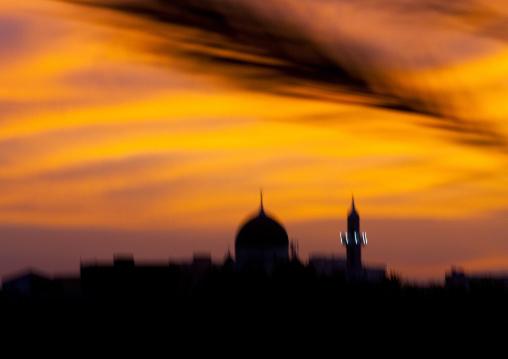 Sudan, Khartoum State, Khartoum, sunset over mosque
