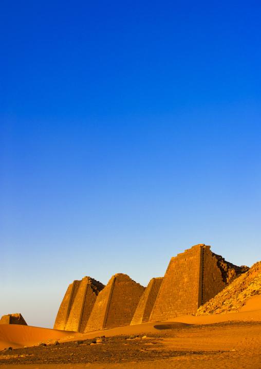Sudan, Kush, Meroe, pyramids and tombs in royal cemetery