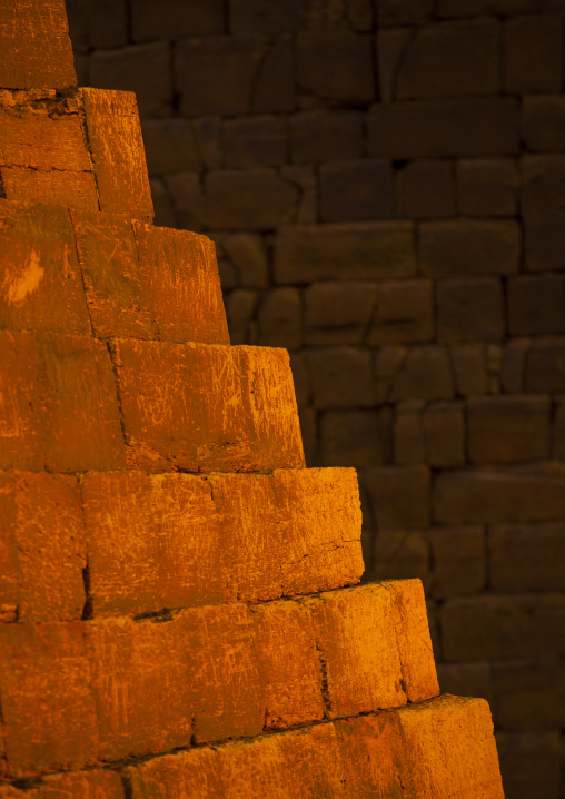Sudan, Kush, Meroe, detail of the pyramids in royal cemetery