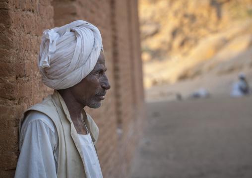 Sudan, Kassala State, Kassala, man in khatmiyah mosque