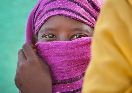 Sudan, Khartoum State, Khartoum, sudanese woman hiding her face under a veil