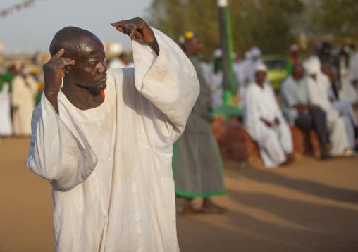 Sudan, Khartoum State, Khartoum, sufi whirling dervish at omdurman sheikh hamad el nil tomb