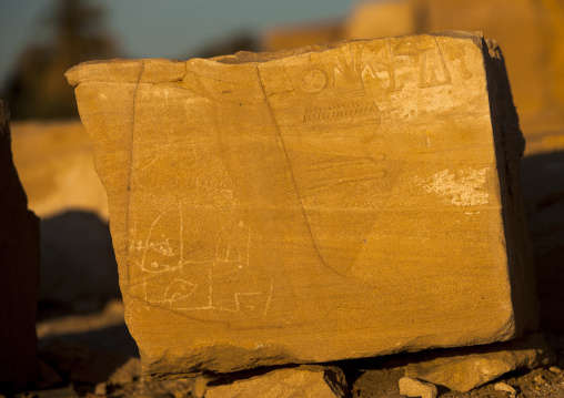 Sudan, Nubia, Soleb, hieroglyphs in the the big soleb temple built by amenophis iii