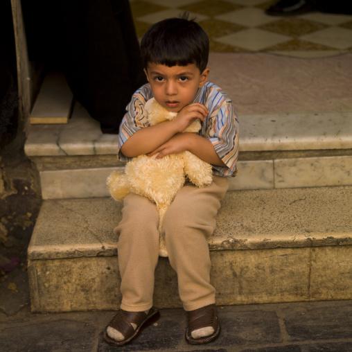 Kid Holding His Teddy Bear, Damascus, Syria