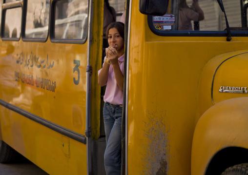 Girl In A School Bus, Aleppo, Syria