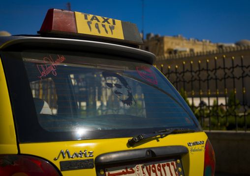 Taxi With Bashar Al Assad Image On The Glass, Aleppo, Syria