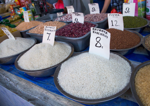 Bags of rice beans and sugar with prices in a market, Gorno-Badakhshan autonomous region, Khorog, Tajikistan