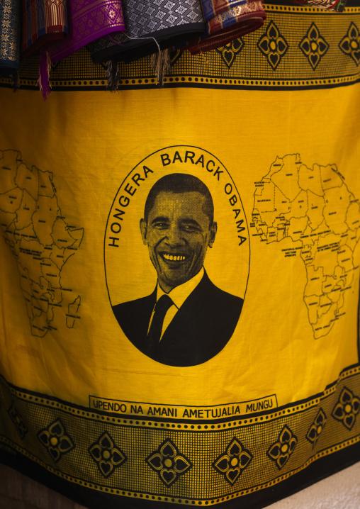 Obama tissue in stone town market,Zanzibar, Tanzania