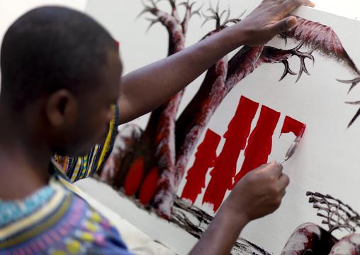 Artist in stone town zanzibar, Tanzania