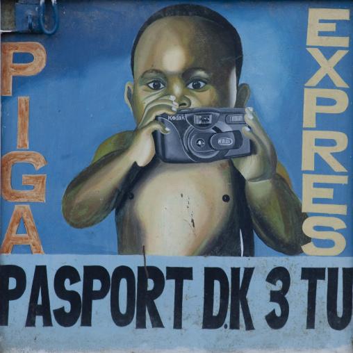 Photographer adversiting, Tanzania