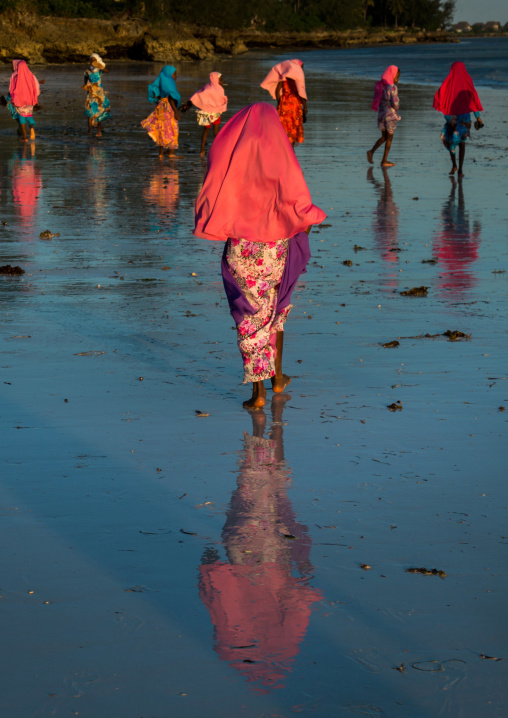 Tanzania, Zanzibar, Kizimkazi, veiled girls walking on the beach
