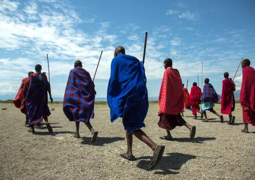 Tanzania, Ashura region, Ngorongoro Conservation Area, maasai men performing the warriors' dance
