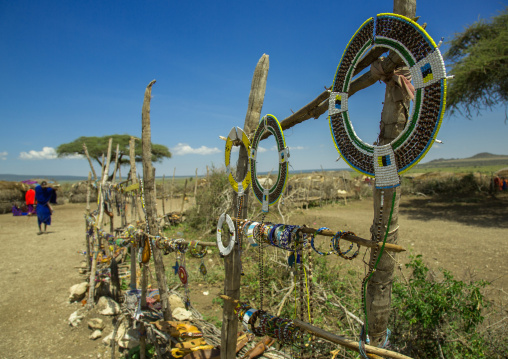 Tanzania, Ashura region, Ngorongoro Conservation Area, massai beaded bracelets and necklaces for sale at a village market