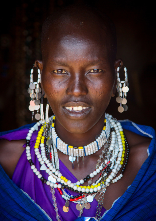 Tanzania, Ashura region, Ngorongoro Conservation Area, maasai woman with impressive traditional colorful pearl jewellery