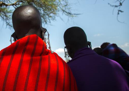 Tanzania, Ashura region, Ngorongoro Conservation Area, maasai beaded earring worn by women