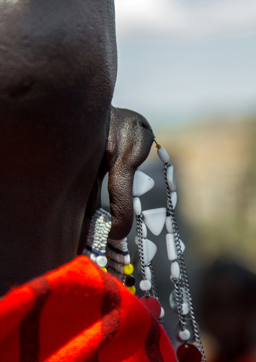 Tanzania, Ashura region, Ngorongoro Conservation Area, maasai beaded earring worn by women