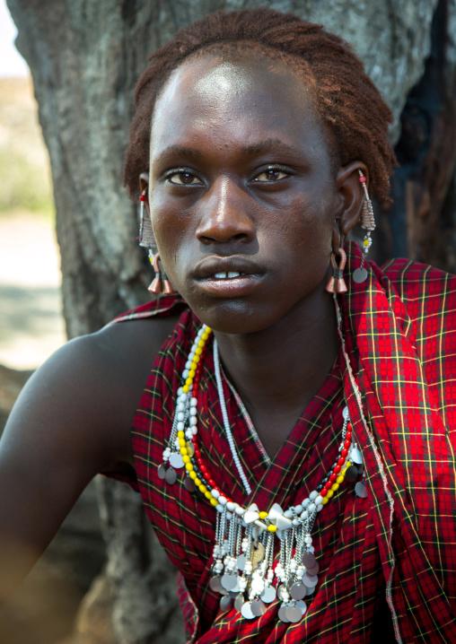 Tanzania, Ashura region, Ngorongoro Conservation Area, a maasai young moran warrior