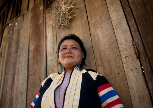 Miss na kue, Lahu woman in traditional clothes for new year, Ban bor kai village, Thailand