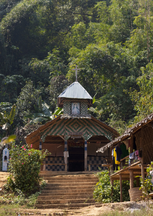 Christian church in a karen refugees village near mae honf son, Thailand