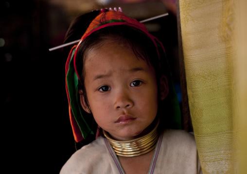 Long neck kid in nam peang din village, North thailand