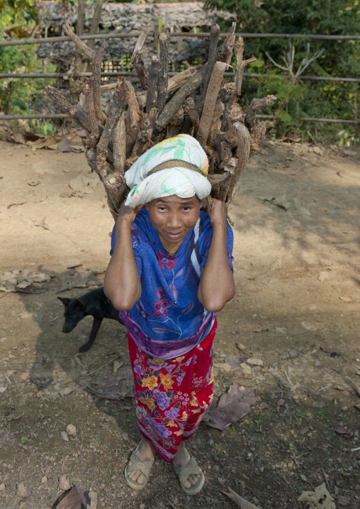 Keren tribe woman carrying wood on her back, Thailand
