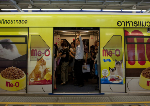 Adverstisements on the subway train, Bangkok, Thailand